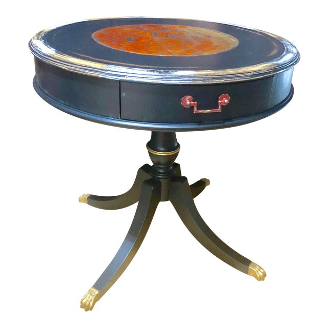 1940s Boho Chic Round Foyer Table For Sale