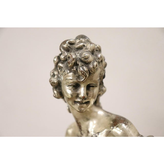 20th Century Italian Sculpture in Silvered Clay Figure of a Lady by B Tornati For Sale - Image 9 of 12