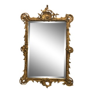 Antique French Rococo Beveled Mirror. For Sale