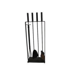 1960s Pilgrim Mid Century Modern Solid Iron Fireplace Tools - 5 Piece Set For Sale