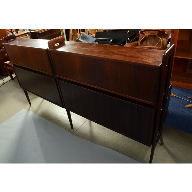 1960s Kurt Ostervig Rosewood Wall Unit Bookcase For Sale - Image 5 of 7