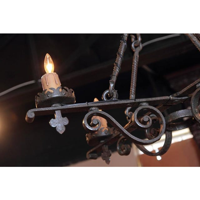 19th Century French Gothic Black Hand-Forged Wrought Iron Four-Light Chandelier For Sale - Image 4 of 10