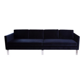 Martin Brattrud Navy Mohair Upholstered Sofa For Sale