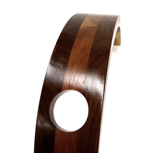 Curved Wood Floating Wine Bottle Holder - Image 5 of 9
