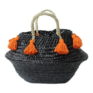 Petite Black Belly Basket - with Ginger Orange Tassels