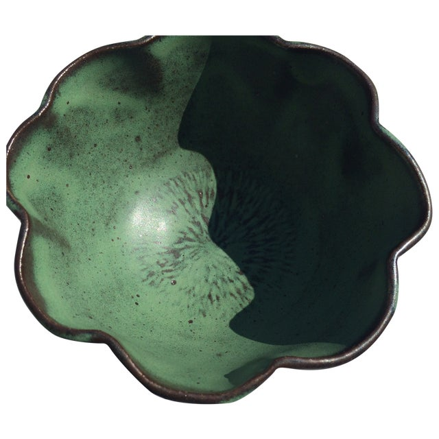 Studio Rosette Flower Green Ceramic Bowl - Image 1 of 6