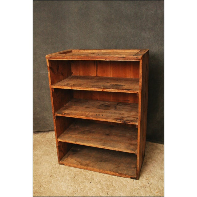 Vintage Industrial Wood Bookcase made from Underwood Typewriter Crates For Sale - Image 4 of 11