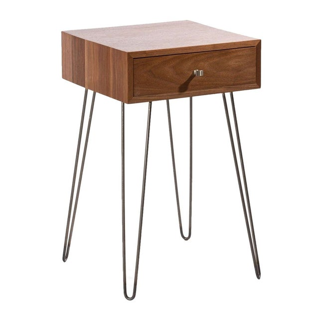Newton Minimalist Solid Black Walnut Nightstand - Image 1 of 1