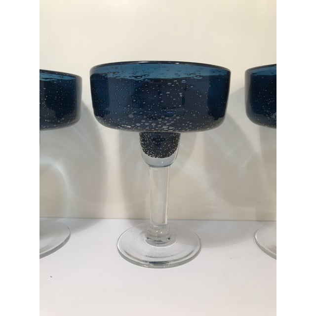 Vintage hand blown cobalt blue margarita gasses for four. Perfect for entertaining or gifting.