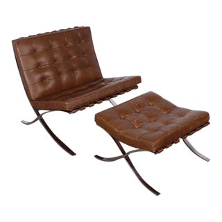 Barcelona Chair and Ottoman by Mies van der Rohe for Knoll For Sale