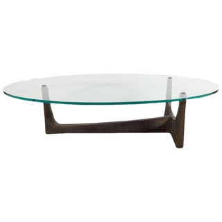Midcentury Gilt Patinated Bronze and Plate Glass Cocktail Table, Felix Agostini For Sale