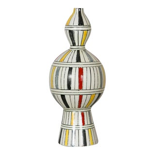 Ceramic Vase with Polychrome Striped Decor, Italy, 1960 For Sale
