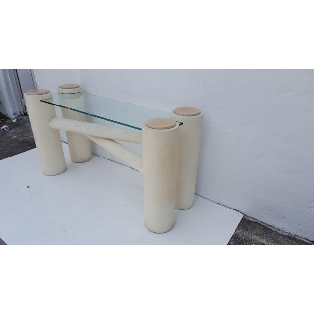Wood Vintage Sculptural -X- Form Base Console Table For Sale - Image 7 of 9