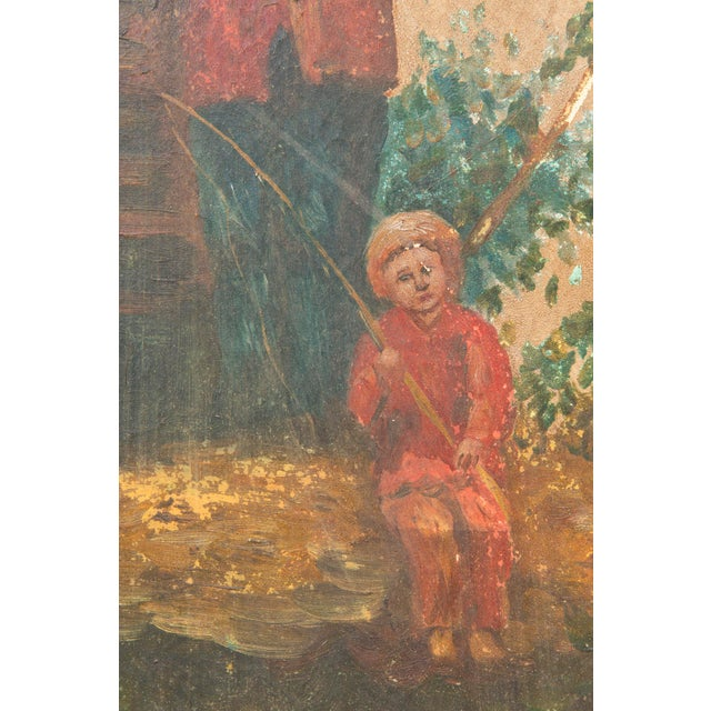 1920s Vintage Chinoiserie Four-Panel Painted Screen on Board For Sale - Image 5 of 11