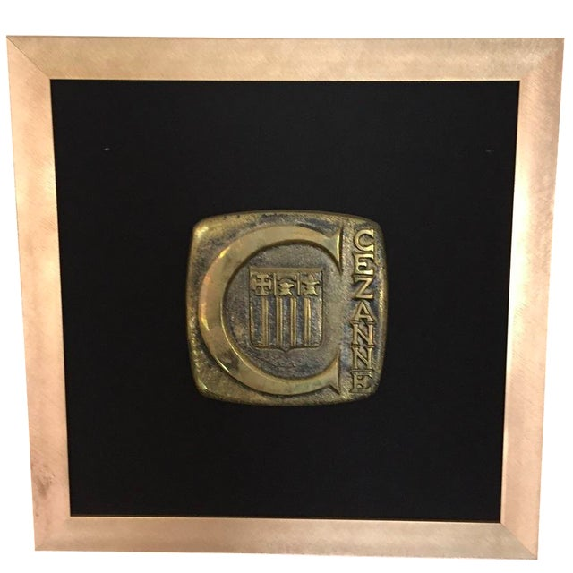 Mid-Century Vintage Cezanne Bronze Plaque With Handpainted Frame For Sale