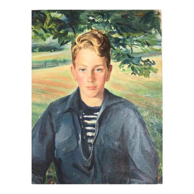 Postimpressionist Signed Portrait of a Boy For Sale
