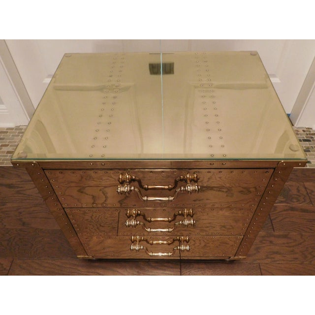 Serreid LTD Vintage Brass Nightstand - Image 8 of 11