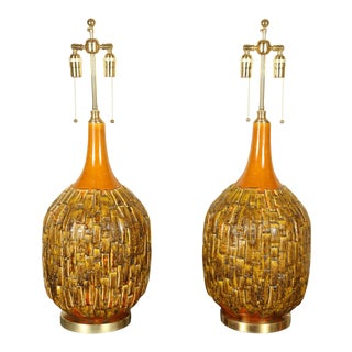 1960s Large Mid-Century Ceramic Lamps - a Pair For Sale