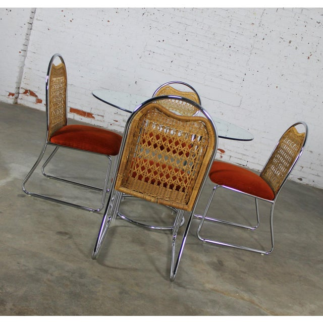 Mid-Century Modern Daystrom Mid-Century Glass & Chrome Table With Chrome & Wicker Chairs - Set of 5 For Sale - Image 3 of 11