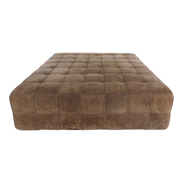 Large Tufted Square Suede Ottoman For Sale