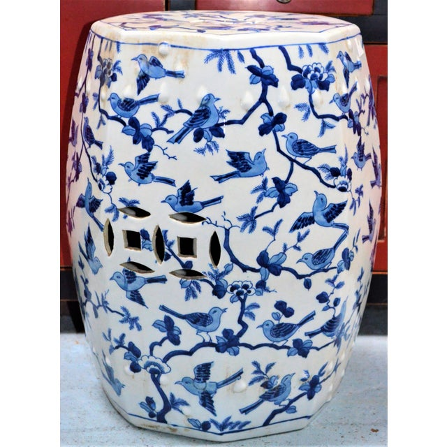 2000 - 2009 Chinoiserie Blue and White Porcelain Garden Stool With Birds For Sale - Image 5 of 5