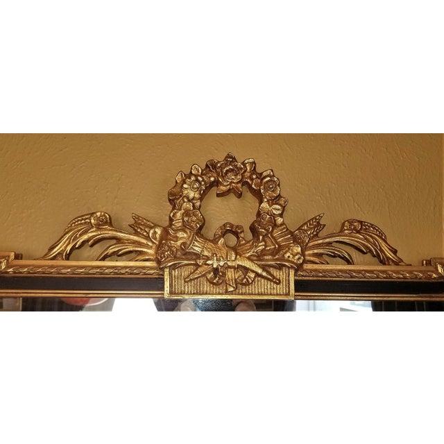 Wood Louis XVI Style Giltwood & Ebony Beveled Glass Mirror For Sale - Image 7 of 8