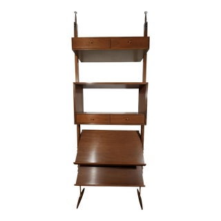 Mid-Century Modern Tension Pole Wall Shelving Unit For Sale