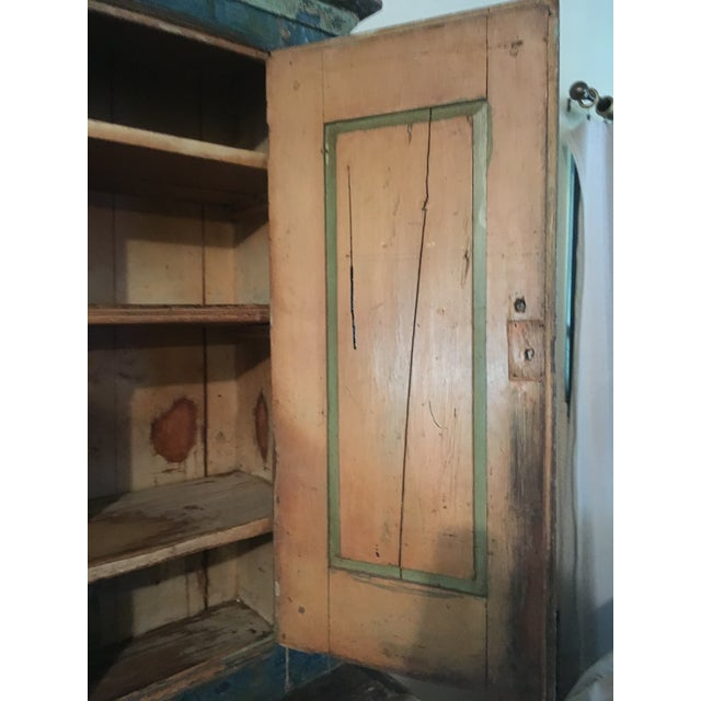 Paint Mid 19th Century Antique Blue Step Back Cupboard For Sale - Image 7 of 9