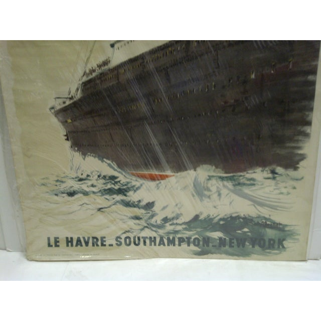 """Circa 1940 Vintage French """"Le Havre"""" Ship Poster For Sale - Image 5 of 6"""