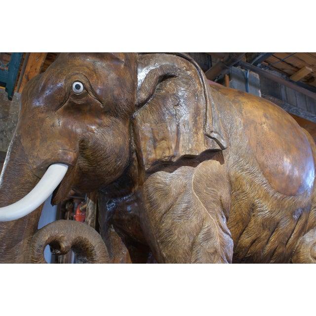 Asian Large Carved Teak Elephant For Sale - Image 3 of 6
