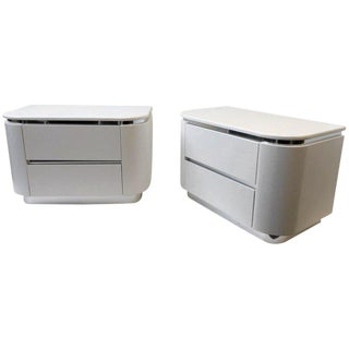 Pair of Off White Lacquer and Chrome Nightstands by Steve Chase For Sale