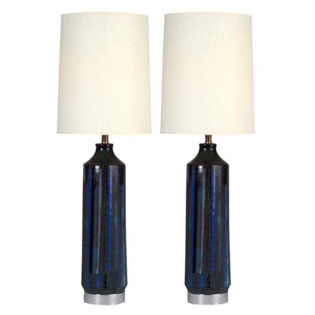 Bitossi for Raymor Incised Blue Glazed Ceramic Table Lamps - a Pair For Sale