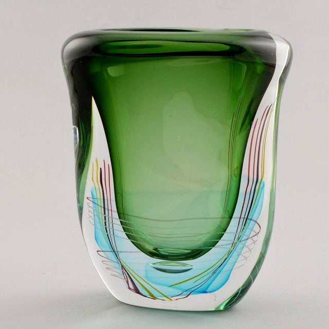 Signed Fratelli Toso Large Green Murano Art Glass Vase Chairish