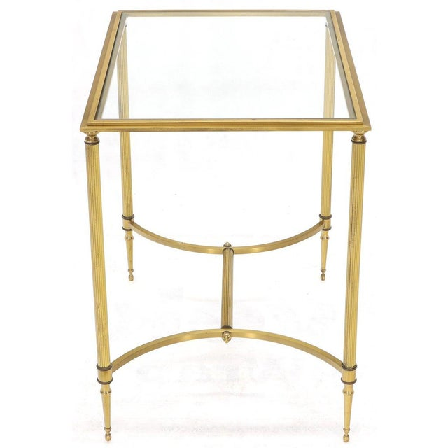 Pair of Solid Brass Glass Tops Stretcher Janson Style End Occasional Tables For Sale - Image 4 of 13