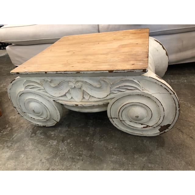 Wood Restoration Hardware Distressed Ionic Capital Coffee Table For Sale - Image 7 of 7