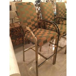 Vintage Hollywood Regency DIA Upholstered Brass Gold Arm Bar Stools - Set of 3 Preview