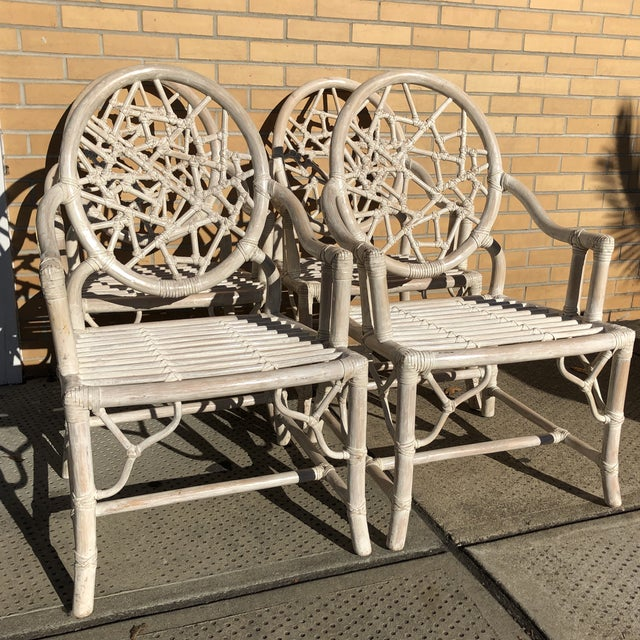 S/4 Cracked Ice Rattan Arm Chairs, Att. McGuire For Sale - Image 6 of 7