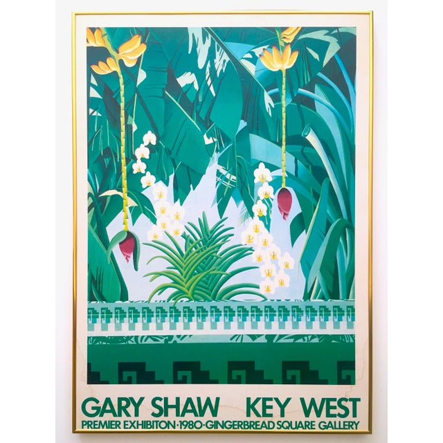 """Vintage 1980 """" Gary Shaw Key West """" Tropical Botanical Lithograph Print Framed Exhibition Poster For Sale - Image 13 of 13"""