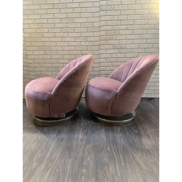 1960s Mid Century Modern Milo Baughman Channel Back Swivel Chairs Newly Upholstered - Pair For Sale - Image 5 of 12