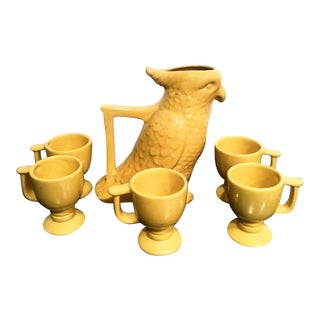 Vintage Frankoma Set of 6 Marigold Yellow Parrot Pitcher and Cup Pottery Set For Sale