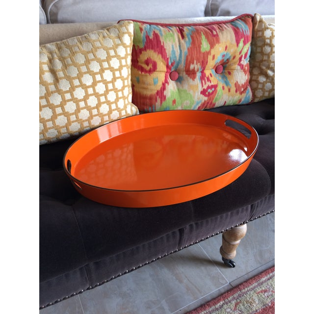 Orange Lacquer Oval Hermès Inspired Serving Tray - Image 6 of 11