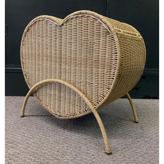 Boho Chic Vintage Rattan Heart Shaped Storage Laundry Hamper For Sale - Image 3 of 11