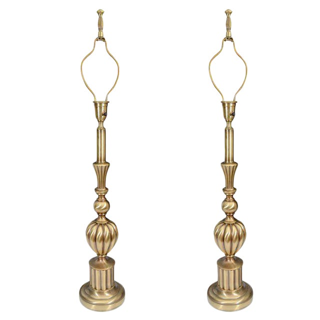 Beautiful Pair of Brass Hollywood Regency Lamps by Stiffel For Sale