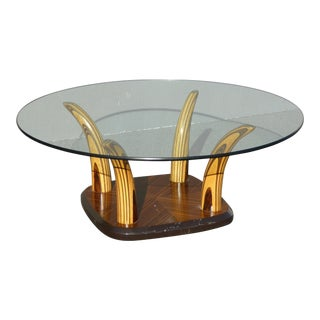 1970s Abstract Henredon Tiger Wood Horn Coffee Table For Sale