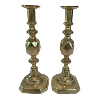 Late 19th Century King of Diamonds Candlesticks - a Pair For Sale