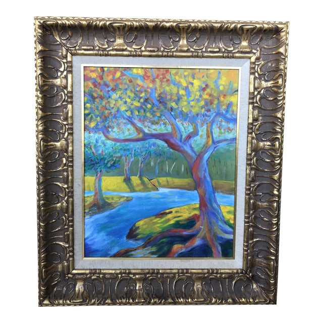 Mid 20th Century Modern Impressionist Style Landscape Oil Painting, Framed For Sale