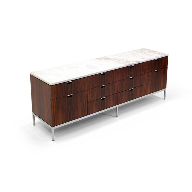Exceptional Florence Knoll Marble-Top Rosewood Credenza - Image 2 of 9