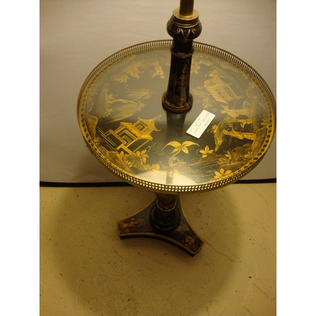 Chinoiserie Black & Gold Decorated Tray Table Stick Floor Lamp - Image 2 of 10