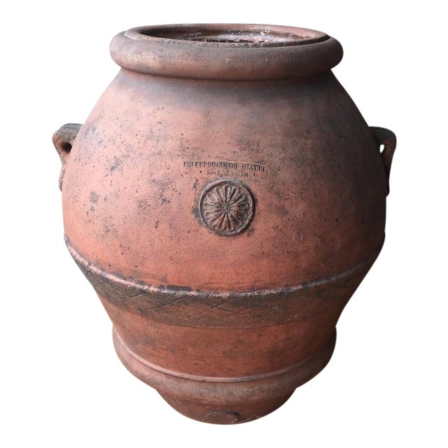 Antique Italian Terra Cotta Oil Pot For Sale