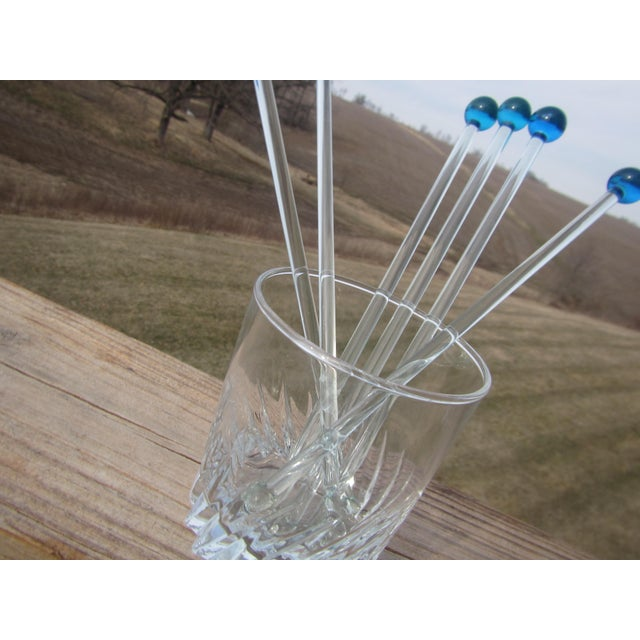 Mid-Century Modern Mid Century Glass Royal Blue Ball Swizzle Sticks/Cocktail Mixers - Set of 6 For Sale - Image 3 of 12